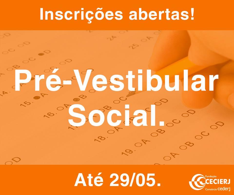 """Estão abertas, até o dia 29/05, as inscrições para o """"Pré-Vestibular Social"""" do Cederj"""