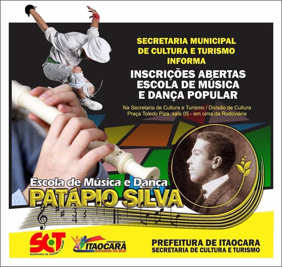 Inscrições abertas em Itaocara para Escola de Música e Dança Popular