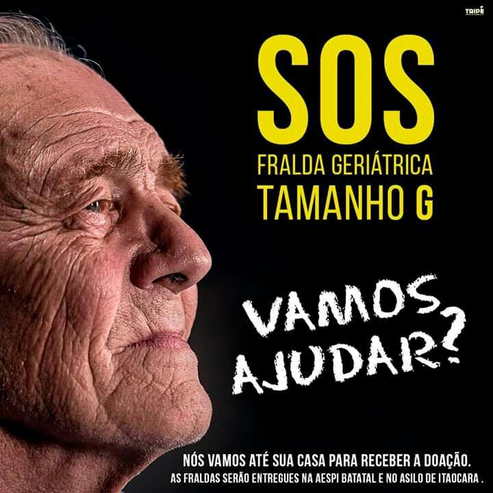 Campanha de arrecadação de Fralda Geriátrica Tamanho G até o dia 04/10.