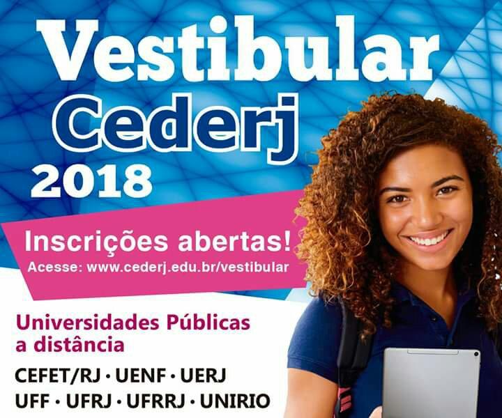 Inscrições abertas para o Vestibular do CEDERJ 2018